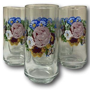 Vintage Tumblers Peony Botanical Drinking Glasses